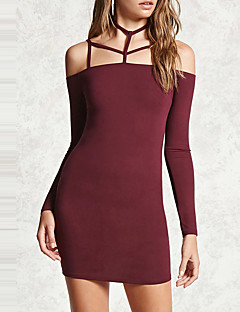 Women's Going out Club Sexy Simple Bodycon Dress,Solid Halter Mini Long Sleeves Polyester Spring Fall High Rise Micro-elastic Medium