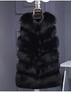 billiga Dampälsar och läder-Enfärgad Fur Coat Dam Rävpäls