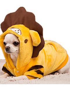 billiga Hundkläder-Hund Dräkter / Kostymer Hundkläder Tecknat Gul / Röd Flanelltyg / Ner Kostym För husdjur Ledigt / vardag