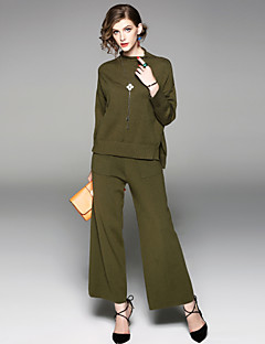 Women's Daily Going out Street chic Fall Blouse Pant Suits,Solid Stand Long Sleeve Split Cotton Polyester Stretchy