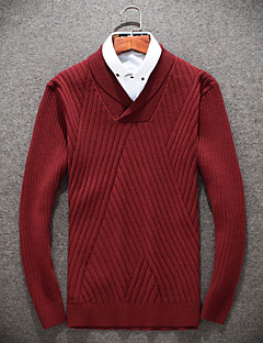 baratos Suéteres & Cardigans Masculinos-Homens Lã Pulôver - Sólido Lã