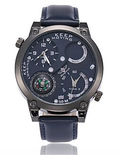 Herrn Armbanduhr Chinesisch Quartz Compass Wasserdicht Duale Zeitzonen Leder Band Cool Schwarz