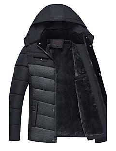 Herren Gefüttert Mantel,Standard Ausgehen Lässig/Alltäglich Einfarbig-Baumwolle Baumwolle Langarm