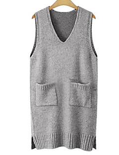 Men's Beach Regular Vest,Solid V Neck Sleeveless Others Spring Summer Medium Micro-elastic