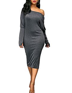 hesapli Sweater Dresses-Kadın's Bandaj Tişört Elbise - Solid, Arkasız Tek Omuz