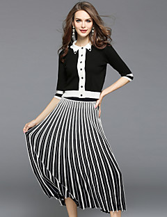 Women's Daily Going out Street chic Fall Sweater Skirt Suits,Striped Shirt Collar Half Sleeves Pleated Polyester Micro-elastic