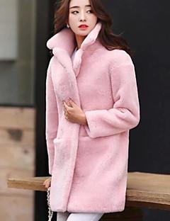 baratos -Feminino Casaco de Pêlo Para Noite Casual Moda de Rua Outono Inverno,Sólido Longo Cashmere Lapela Pontuda