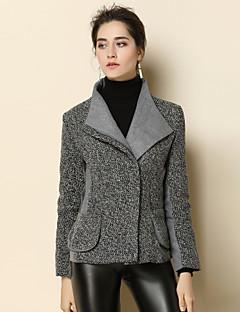 Dames Eenvoudig Street chic Verfijnd Winter Jas,Uitgaan Casual/Dagelijks Effen Overhemdkraag Lange mouw Kort Wol Polyester Patchwork