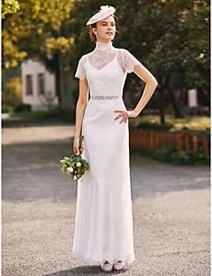 cheap Wedding Dresses-Sheath / Column Two Piece High Neck Floor Length Lace Charmeuse Custom Wedding Dresses with Beading Sash / Ribbon by LAN TING BRIDE®