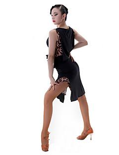 ラテンダンス ドレス 女性用 ダンスパフォーマンス ナイロン プロミックス ネット ノースリーブ ドレス