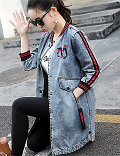 Women's Casual/Daily Simple Fall Winter Denim Jacket,Print Stand ¾ Sleeve Long Polyester