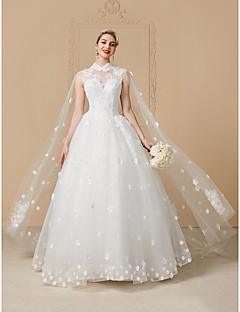 Prenses Yüksek Yaka Yere Kadar Tül Kristal Aplik Dantel ile Düğün elbisesi tarafından LAN TING BRIDE®