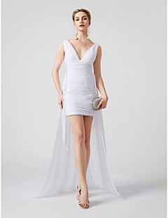 cheap Celebrity Dresses-Sheath / Column Plunging Neckline Short / Mini Chiffon Tulle Cocktail Party Dress with Ruched Criss Cross by TS Couture®