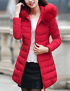Damen Gefüttert Mantel,Lang Retro Einfach Niedlich Ausgehen Lässig/Alltäglich Übergröße Solide Gestreift-Baumwolle PolyesterBaumwolle