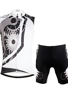 billige Sett med sykkeltrøyer og shorts/bukser-ILPALADINO Herre Ermeløs Sykkeljersey med shorts - Hvit Sykkel Vest Fôrede shorts Klessett, Fort Tørring, 3D Pute