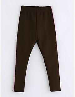 hesapli İndirimli Satışlar-Genç Kız Pamuklu Çizgili Kış Pantolon Kahverengi