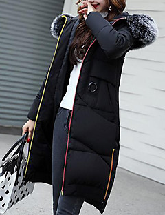 Women's Down Coat,Casual Active Going out Solid Striped Print-Cotton Acrylic Others Polypropylene Long Sleeves