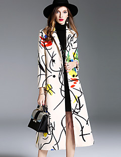 Women's Daily Going out Simple Casual Street chic Sophisticated Winter Fall Coat,Print Long Wool Modal Polyester