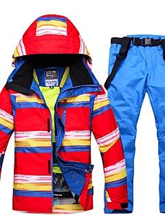 Homens Calças & Jaquetas de Esqui Quente Prova-de-Água A Prova de Vento Vestível Respirabilidade Esqui Ecológico Poliéster