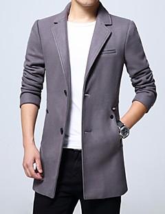 メンズ カジュアル/普段着 冬 コート,シンプル Vネック ソリッド ショート ナイロン 長袖