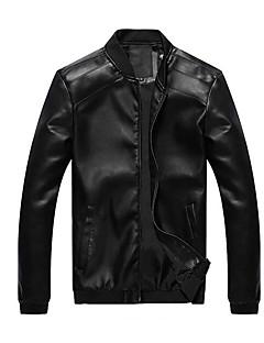 Χαμηλού Κόστους Men's Leather Jackets-Ανδρικά Jeci Piele Μονόχρωμο Όρθιος Γιακάς