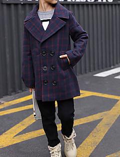 cheap Boys' Jackets & Coats-Kids Boys' Check Trench Coat