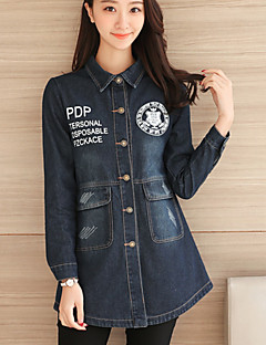 Women's Daily Going out Simple Casual Fall Denim Jacket,Solid Shirt Collar Long Sleeves Regular Cotton Acrylic
