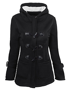 cheap -Women's Daily Holiday Casual Street chic Winter Fall Regular Jacket, Solid Hooded Cotton