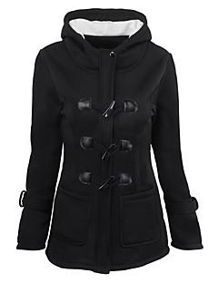 preiswerte Übergrößenkollektion-Damen Solide Freizeit Street Schick Alltag Festtage Standard Jacke, Mit Kapuze Winter Herbst Baumwolle