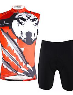 billige Sykkelklær-ILPALADINO Herre Ermeløs Sykkeljersey med shorts - Rød & Sølv Regnbue Sykkel Vest Fôrede shorts Klessett, Fort Tørring, 3D Pute