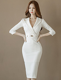 Damen Hülle Kleid-Lässig/Alltäglich Solide V-Ausschnitt Knielang 3/4 Ärmel Polyester Sommer Mittlere Hüfthöhe Mikro-elastisch