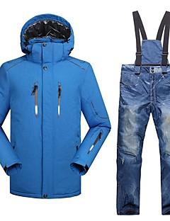 Муж. Лыжная куртка и брюки Теплый Водонепроницаемость С защитой от ветра Пригодно для носки Воздухопроницаемость Легкие Катание на лыжах