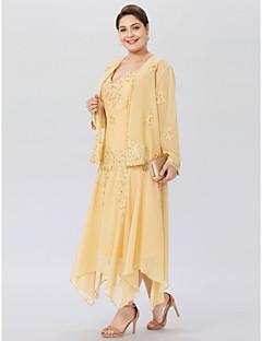 ieftine Rochii Elegante De Nuntă-a-line v-gât șifon asimetric plus mărimea mamei rochiei de mireasă cu aplicații de beading de lan ting bride®