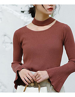 tanie Swetry damskie-Damskie Kaszmirowy Jendolity kolor Długi rękaw