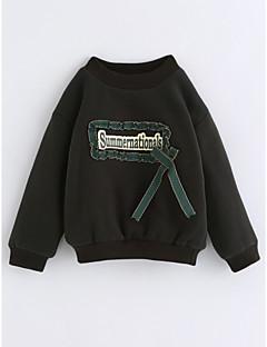 billige Hættetrøjer og sweatshirts til piger-Pige Bluse Ensfarvet, Bomuld Vinter Langærmet Grøn