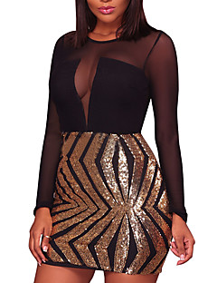 cheap Women's Dresses-Women's Party / Club Bodycon Dress - Patchwork Sequins / Mesh High Rise Mini / Spring / Fall / Skinny