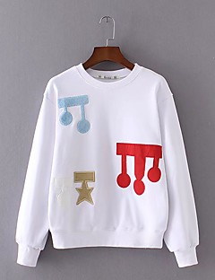 Women's Casual/Daily Simple Sweatshirt Print Embroidered Round Neck Micro-elastic Cotton Others Long Sleeve Spring Fall