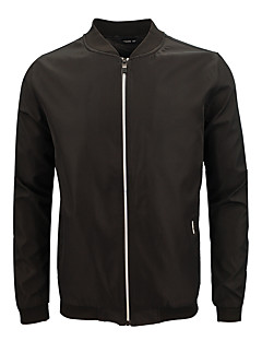 billige Herremote og klær-bomber Jacket - Ensfarget Grunnleggende Herre