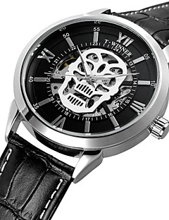 WINNER Herrn Modeuhr Kleideruhr Armbanduhr Automatikaufzug Wasserdicht Transparentes Ziffernblatt Totenkopf Echtes Leder Band Retro