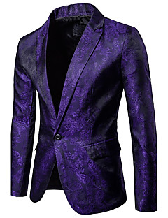 cheap Men's Blazers & Suits-Men's Party / Daily / Daily Wear Sophisticated Spring / Fall Regular Blazer, Solid Colored / Floral Shirt Collar Long Sleeve Cotton Black / Red / Purple XL / XXL / XXXL / Slim