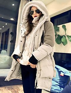 Damen Daunenjacke Mantel Einfach Lässig/Alltäglich Solide-Daune Langarm