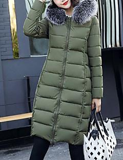 Damen Daunen Mantel,Lang Einfach Ausgehen Solide Druck-Baumwolle Polypropylen Langarm