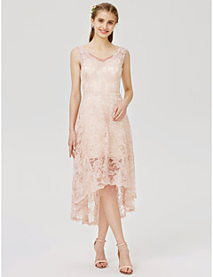 cheap Romance Blush-A-Line Princess Strap Asymmetrical All Over Lace Bridesmaid Dress with Appliques Pleats by LAN TING BRIDE®