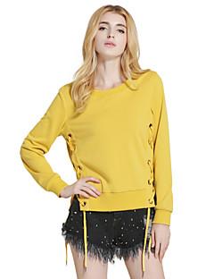 Feminino Camiseta Feriado Casual Vintage Moda de Rua Inverno Primavera/Outono,Sólido Vintage Algodão Decote Redondo Manga Longa Média
