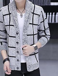 Lang Cardigan Andre Fritid Herre,Trykt mønster Skjortekrage Langermet Polyester Høst Medium Mikroelastisk