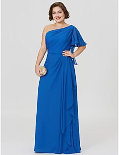 baratos Vestidos para as Mães dos Noivos-Tubinho Assimétrico Longo Chiffon Vestido Para Mãe dos Noivos com Pregas de LAN TING BRIDE®