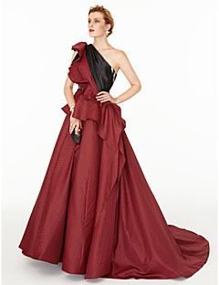 cheap Celebrity Dresses-A-Line Princess One Shoulder Court Train Satin Taffeta Formal Evening Dress with Color Block Pleats Side Draping by TS Couture®