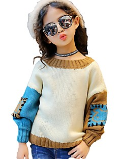 Girls' Color Block Blouse,Cotton Spandex Fall Winter Long Sleeves Regular