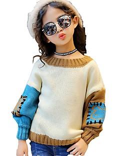 Mädchen Bluse Einfarbig Baumwolle Elasthan Herbst Winter Langarm Standard