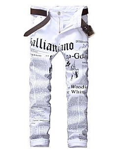 billige Herrebukser og -shorts-Herre Punk & Gotisk Bomull Tynn Jeans Bukser - Trykt mønster, Bokstaver / Klubb / Helg